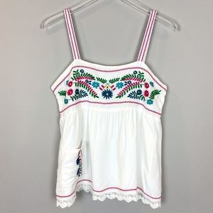 Chelsea & Violet Embroidered White Floral Top
